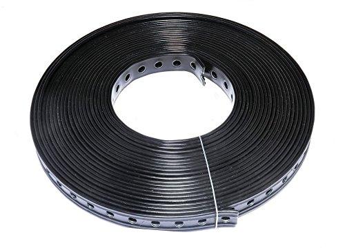 1 Rolle (10 m) Lochband kunststoffummantelt schwarz (27 mm)