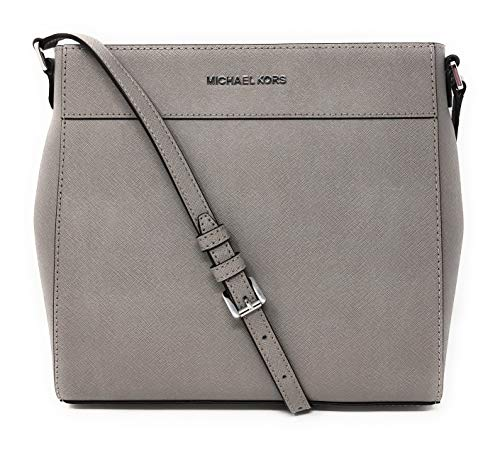"""Saffiano leather with silver tone hardware. Approximate measurement: 11.5"""" (L) X 9.5"""" (H) X 2.5"""" (D). 18""""-22"""" adjustable crossbody strap. Interior: 1 zippered pocket, 4 slips pockets, and 1 phone pocket. Exterior features: Full length magnetic snap c..."""