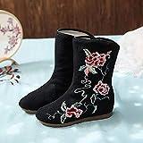 Zapatos Bordados para Mujeres Mujer algodón Botas Botas Flor Bordado Damas Casual cómodo Jacquard Botines Retro Mujer otoño Zapatos de otoño Tacones Bordados Linyn (Color : Black, Size : 38 EU)
