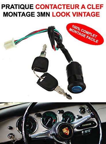 LCM2014 CONTACTEUR A Clef Auto Montage 3MN KIT 100% Complet 12V 24V Vintage VHC Rallye 4X4 Moto Camping-Car