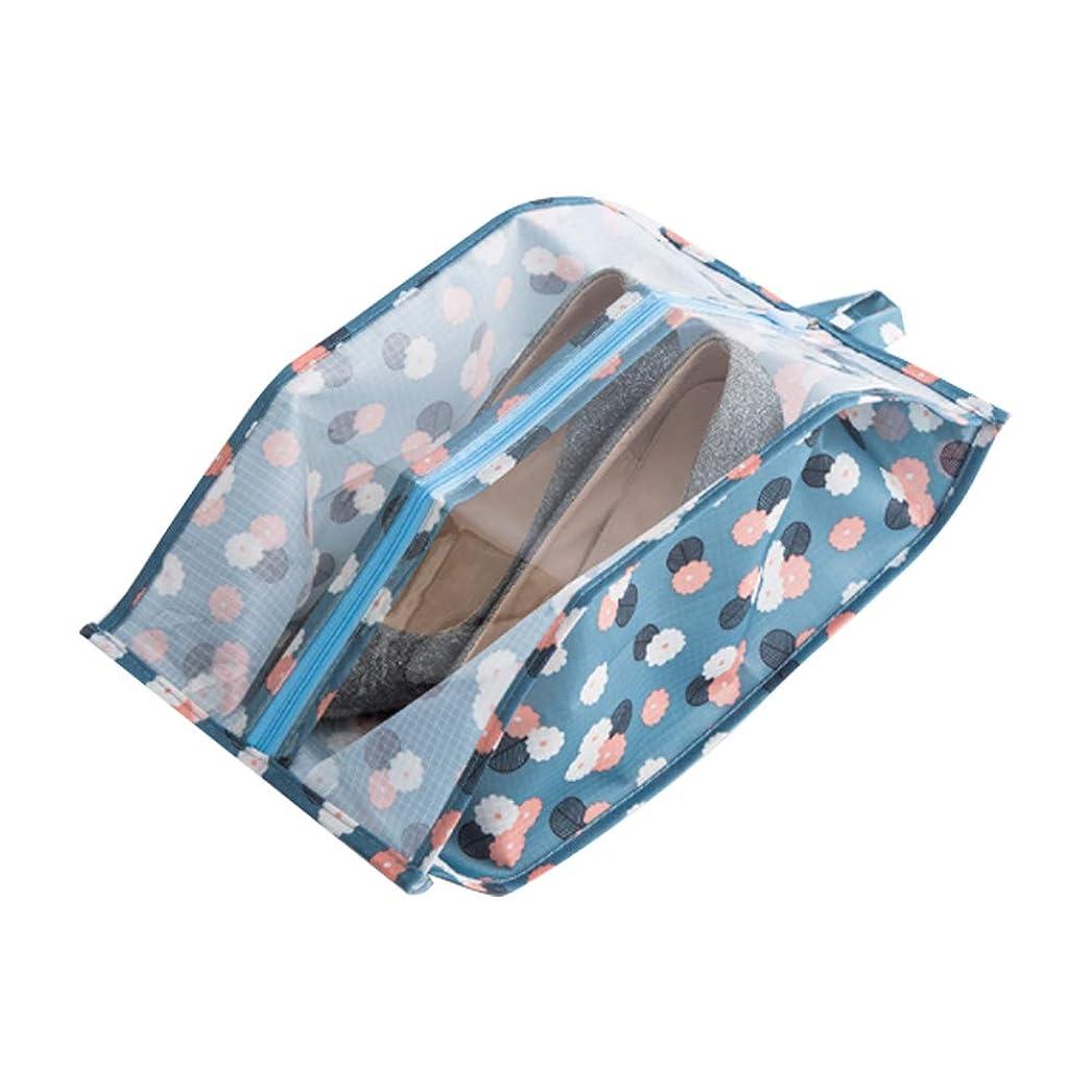 抜本的な不足発音するYaptheS シンプルな防水シューズバッグ ナイロン製トラベルバッグまたはウォッシュバッグ ジッパーと窓付きトラベルバッグセット 男の子と女の子用 (ブルーフラワー)