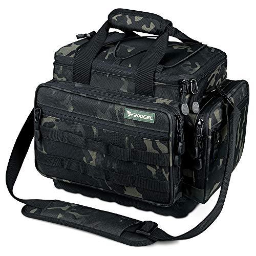 Rodeel Angelbeutel Angelgerätetasche Fishing Tackle Bag für Salzwasser oder Süßwasserfischen Camouflage Green(B. Camouflage ohne Gerät(34.5 * 23.1 * 28.4 cm))