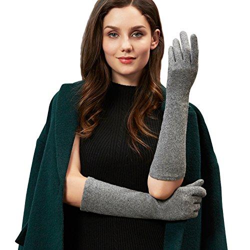 GSG Ladies Touchscreen Wool Gloves Arm Warmers Gloves Mittens Women Long Slim Wedding Dress Accessory Grey