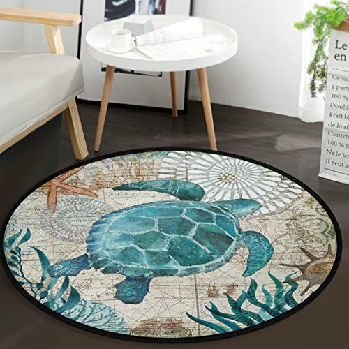 Vdsrup Nautical Sea Turtle Animal Doormat Ocean Starfish Retro Map Round Floor Mat Non Slip Absorbent Carpet Yoga Rug for Entryway Bedroom Living Room Sofa Home Decor