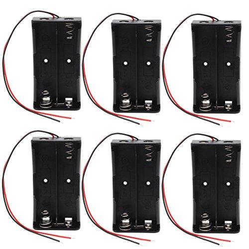 KEESIN 3.7V 18650 Batteriehalter Gehäuse Kunststoff Akku Aufbewahrungsbox mit Wire Leads und Befestigung Kabelbinder (2 Solts × 6 Stück)