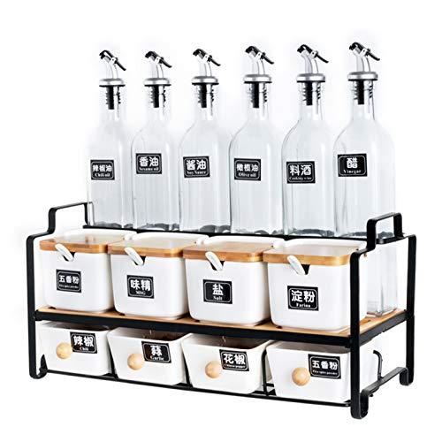 QLIGHA Juego de combinación de tarros de condimentos de Cocina, Botella de condimentos de Vidrio y recipientes de cerámica para Especias para estantería multifunción de Cocina