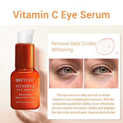 510 AaBxTaL - Vitamin C Eye Serum, BREYLEE Whitening Eye Treatment for Dark Circles and Wrinkles Removal Anti Aging Moisturizing Eye Essence for Fine Lines Organic Eye Care with Hyaluronic Acid(20ml,0.71fl Oz)