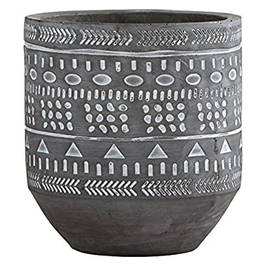 Rivet Modern Concrete Planter with Painted Accents, 6  H, Grey/White