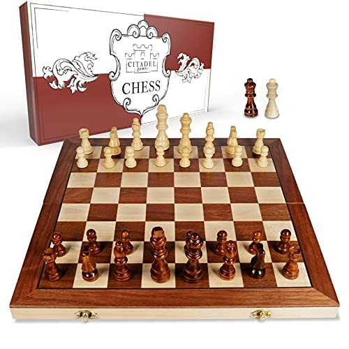 Magnetic Wooden Chess Board Set for Adults and Kids – 15 inch Chess Sets for Adults, Travel Chess Set for Kids, Chess Board Games for Adults, Portable Chess Set Magnetic with Wood Weighted Pieces