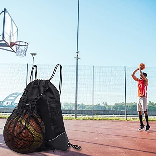 Gidenfly - Mochila de baloncesto con cordón para niños, mochila de fútbol, plegable, bolsa de deporte con bolsa de malla desmontable para volei-Ball, béisbol, yoga