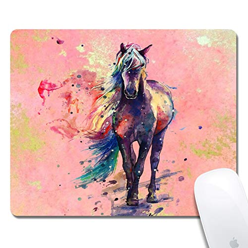 iNeworld Mouse Pads Rectangle Watercolor Horse Thick Keyboard Mouse Pad Non-Slip Nature Rubber for Gaming Office Working Home Mouse Mat