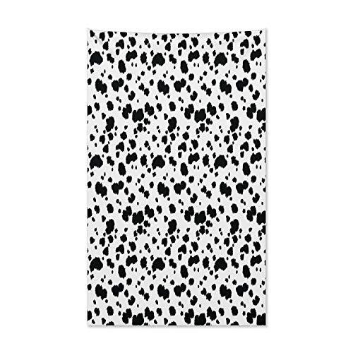 ABAKUHAUS Tier Wandteppich und Tagesdecke, Dalmatiner Druck Textur aus Weiches Mikrofaser Stoff Kein Verblassen Klare Farben Waschbar, 140 x 230 cm, Weiß und Schwarz