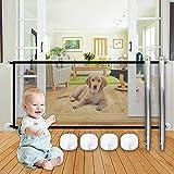 Puerta Mágica para Perros Speyang 117 x 88cm Red de Aislamiento para Mascotas, Puerta de Malla para Perro, Barrera para Perros Puerta, Magic Gate Dog para Cocinas, Escaleras y Habitaciones (Negro)