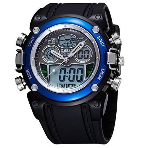 OHSEN Unisex Multifunktion Sports Uhr Outdoor Digital Analog Wasserdicht Armbanduhr Teenager AD0721 - Schwarz/Blau