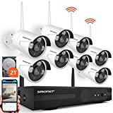 2020 SMONET H.264+ Security Camera System Wireless,8CH Full HD 1080P Surveillance Camera System(2TB Hard Drive), 8pcs 2.0MP Outdoor&Indoor Wireless Security Cameras,P2P, Free APP,Easy Remote View