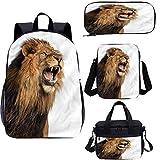 Lion - Juego de mochila escolar y bolsa de almuerzo (17 pulgadas, 4 en 1)
