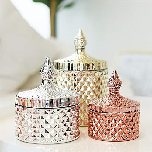 Tarros de almacenamiento para cocina, especias, caramelos, oro rosa, cristal de diamante con tapa, color dorado y plateado