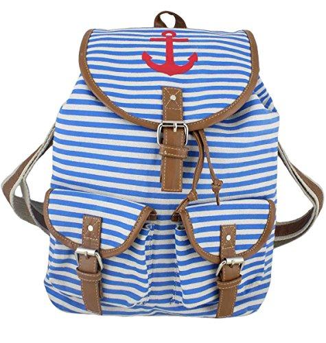 Sonia Originelli Rucksack Marlene Anker Streifen Maritim Tasche Farbe Blau-Rot