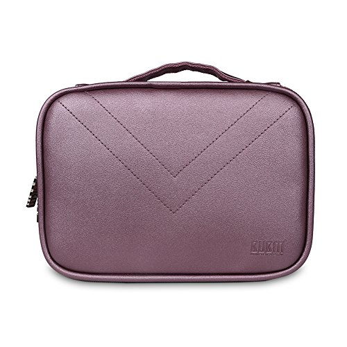 BUBM Portable Waterproof Travel Cable Organizer Storage Bag, Electronics Accessories Travel Organizer for Laptop Accessories, Hard Drive, Pen, Smartphone, Passport-Purple
