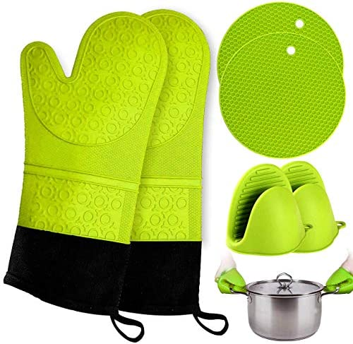 Oven Mitts and Pot Holder Extra Long Silicone Oven Mitt Heat Resistant with 2 trivets Mini Pinch product image