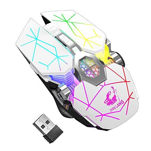 Kabellose Gaming-Maus, RGB, mehrfarbig, wiederaufladbar, leise, Computerzubehör, für zu Hause, Büro, Spiele, 7 Tasten, mehrere Funktionen (Weiß)