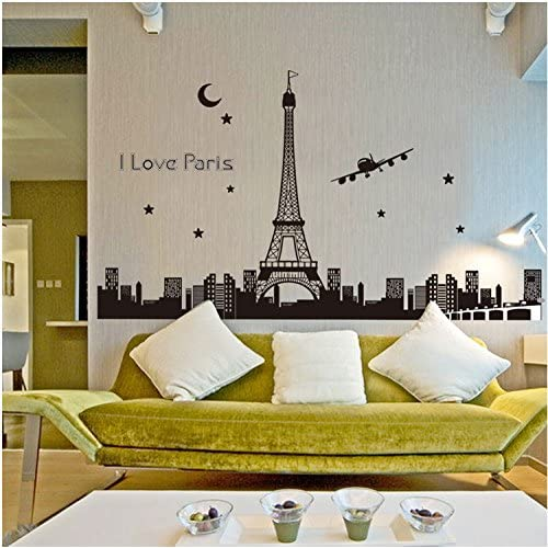 Oren Empower Glow in Dark The Great Eiffel Tower Large Wall Sticker (Finished Size on Wall - 165(w) x 92(h) cm)