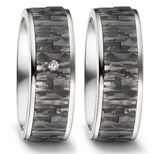 CORE by Schumann Design Trauringe Eheringe aus Titan & Carbon Kombination Bicolor mit echten Diamanten GRATIS Gravur 20002724