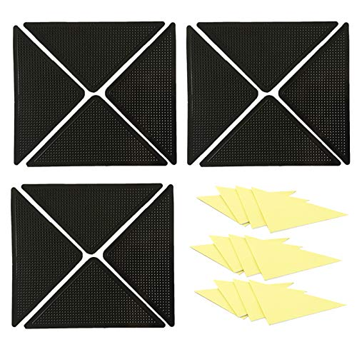 EQLEF Antirutschmatte für Teppich, Wiederverwendbare waschbare Teppichgreiferpolster rutschfeste doppelseitige Aufkleber für Fußmatten 12St