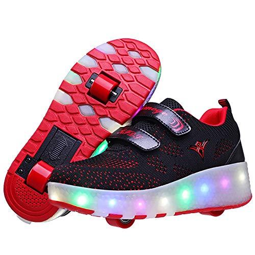 Aupast Unisex Kinder Mode LED Schuhe mit Rollen Drucktaste Einstellbare Skateboardschuhe,mit USB Outdoor Sports Gymnastik Sneaker für Jungen Mädchenblack red-28 EU