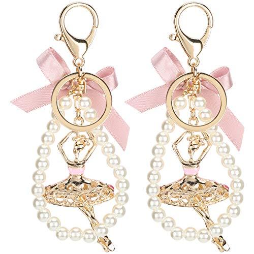2 piezas de cadena y anillos de salto, broches giratorios dorados para niña de ballet, broche de garra de langosta para cordón de llavero