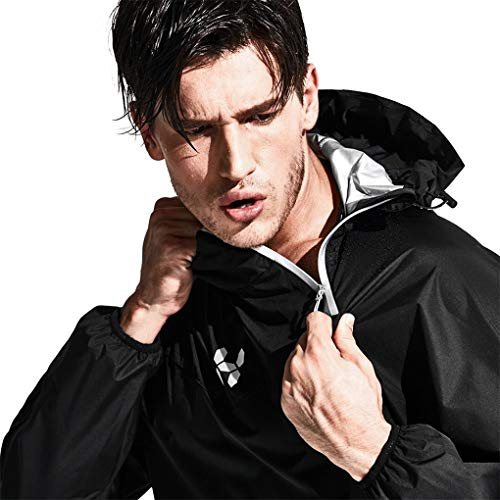 HOTSUIT Sauna Suit Men Weight Loss Jacket Pant Gym Workout Sweat Suits, Black, XL