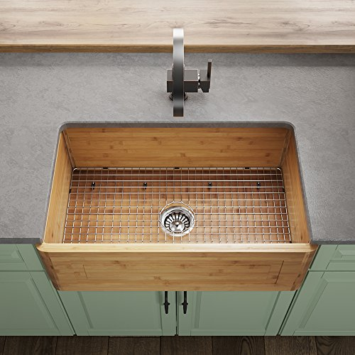 bamboo sinks MR Direct 894-ST 894 Bamboo Apron Kitchen Sink, Standard, steel strainer