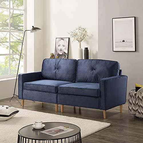 3-Sitzer Sofa, Couch für Wohnzimmer, gemütlich morderne Couch mit dezenten Designelementen, Federkern und Loser Rücken (Dunkel Blau)