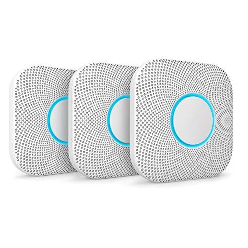 Google Nest Protect, Weiß, 3er Pack, Der Rauchmelder, der spricht und dein Smartphone benachrichtigt
