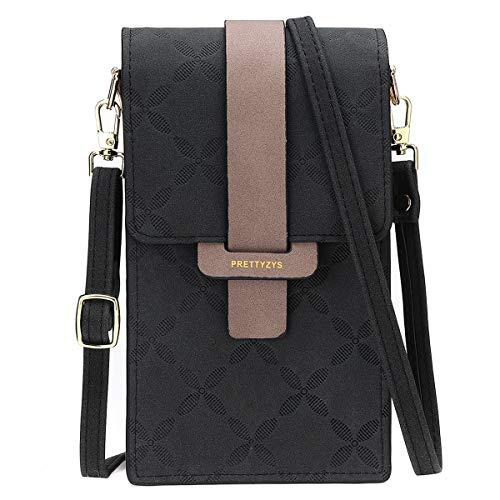 JOSEKO Handy Tasche Frauen, Damen Handy Schultertasche Umhängetasche Damen Solid PU Leder Clutch Bag Kartentasche Phone Bag unter 7 Zoll