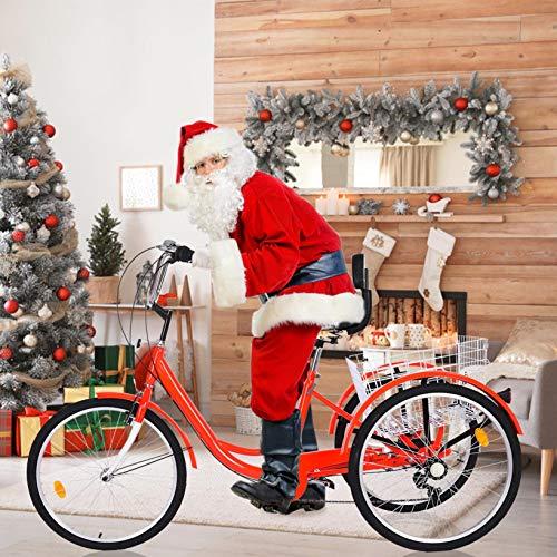 Nawenjuyu 24'' Adult Trike, Three Wheel Cruiser Bike, Multiple Speeds, 26-Inch Wheels, Cargo Basket, 1/7 Speed 3-Wheel Shopping Basket for Seniors, Women, Men, Green Red