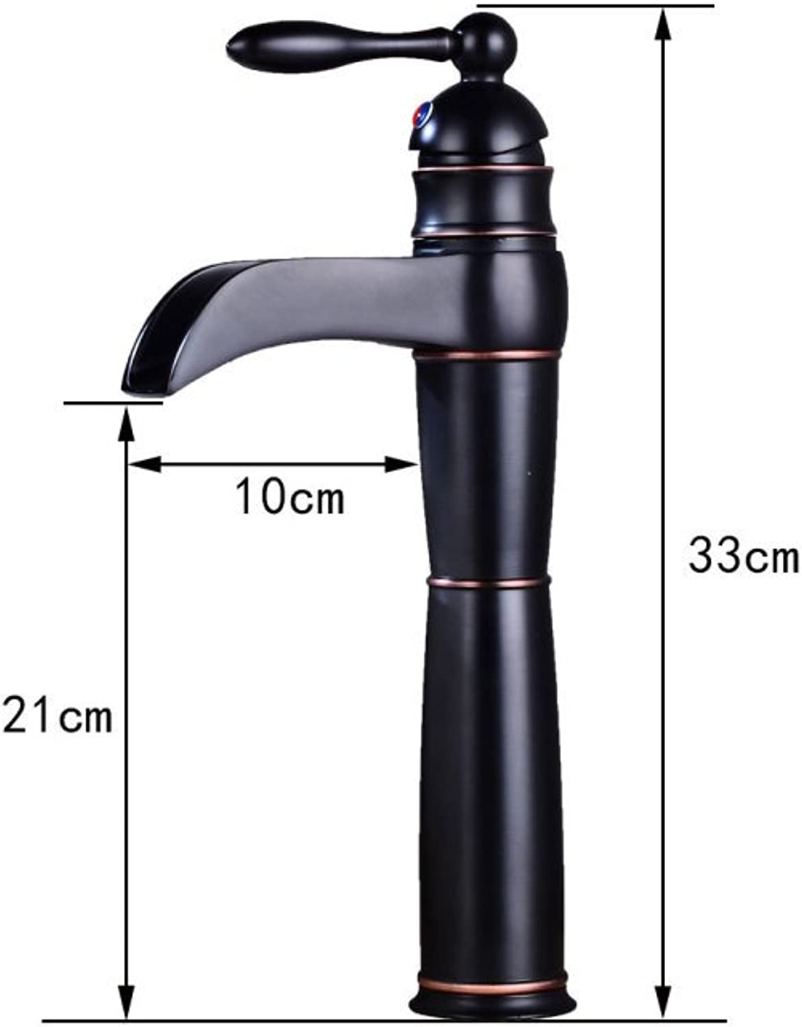 GZF Faucet European black ancient faucet above counter basin hot and cold faucet waterfall bathroom faucet