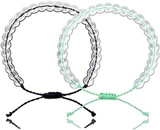2PCS Crystal Ocean Bracelets Adjustable Transparent Bead Waterproof Bracelet Set Handmade Weaving Rope Friendship Jewelry for Women Men