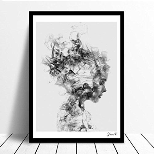 SWIDUUK Poster de style moderne Noir/blanc Motif fille pour bureau,  chambre, salon, décoration murale, Noir , 15*20cm