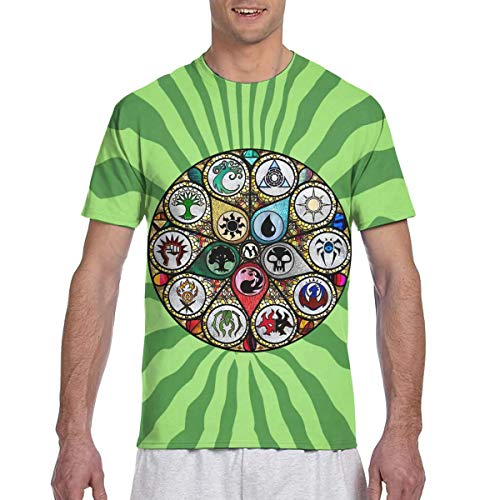 Actuallyhome Vidrieras de MTG Camiseta clásica de Manga Corta con Estampado a Doble Cara para Hombre, Camiseta con Cuello Redondo