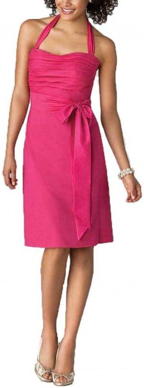 Dearta Women's Sheath Column Halter KneeLength Satin Bridesmaid Dresses