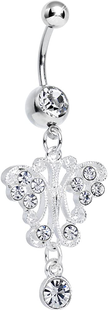 Body Candy Clear Elegant San Popular standard Antonio Mall Symmetry Ring Dangle Butterfly Belly