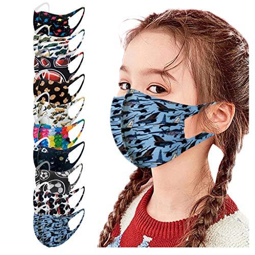 Generic 5PCS Visage_Masque Enfant Bandana Lavable Fille Garcon Tissu Reutilisable Soie glacée pour Adolescents École Activités Extérieure Cyclisme Camping Unisexe JIekyoi