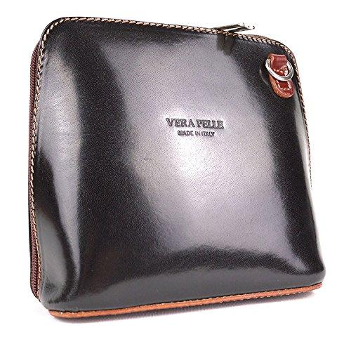 Benagio, borsetta a tracolla o a mano, in vera pelle italiana, Chocolate Black (Multicolore) - PS14
