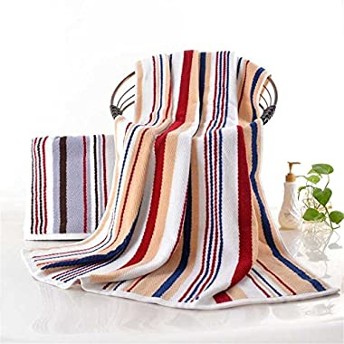100% Cotton Oversized Large Beach Towel Red and Yellow Striped Pool Towel — Easy Care, Maximum Softness and Absorbency (35 x 70 inches)