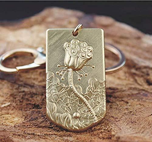 DdA8yonH Llavero, Lotus contiene esputo para liberar barro sin teñir llavero de cobre puro, bonito colgante de anillo de cadena para parejas masculinas y femeninas.