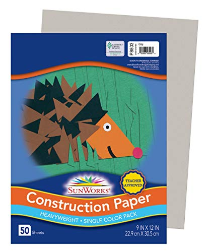 "Sunworks Construction Paper, Gray, 9"" x 12"", 50 Sheets - 8803"