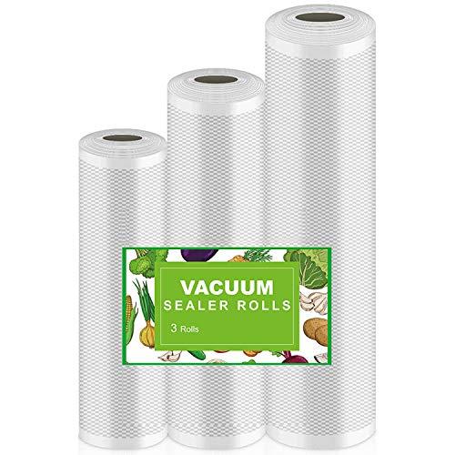 Techfection Vakuumierfolie Vakuumierbeutel für Lebensmittelechte Konservierung und Lagerung BPA frei & LFGB Zugelassene Wiederverwendbare Punktionsprävention Verpackt 3 Größen 15m(3 rollen)