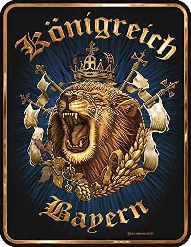 empireposter Königreich Bayern - Blech-Schild Blechschild mit Spruch, 4 Saugnäpfe - Grösse 17x22 cm