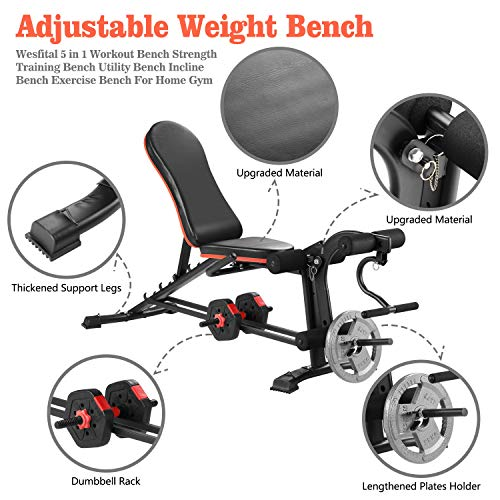 ZENOVA Adjustable Workout Bench, Incline Weight Bench for Home Workout Strength Training Bench with Leg Extension and Curl (Upgrade Version)